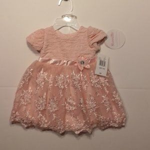 Nannette Baby Pink Sparkle Lace Dress 3-6 NWT